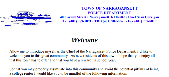 Letter from the Narragansett Chief of Police